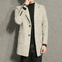 Spring Autumn Men Long Trench Coat Single Breasted Casual Fashion Slim Fit Overcoat High Quality Trench