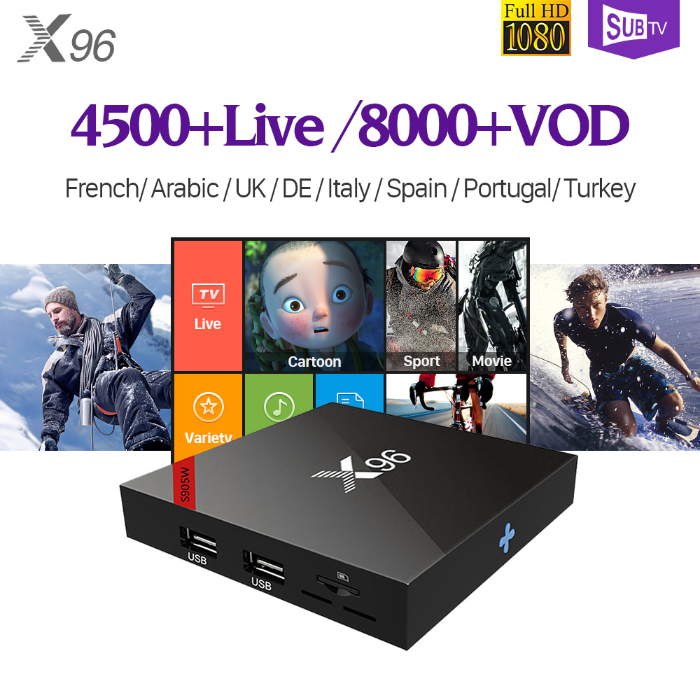 X96W IPTV Box 4k French Portugal Turkey Android 7.1 Full HD Live 60fps Arabic IPTV Subscription SUBTV Code IPTV Receiver IP TV