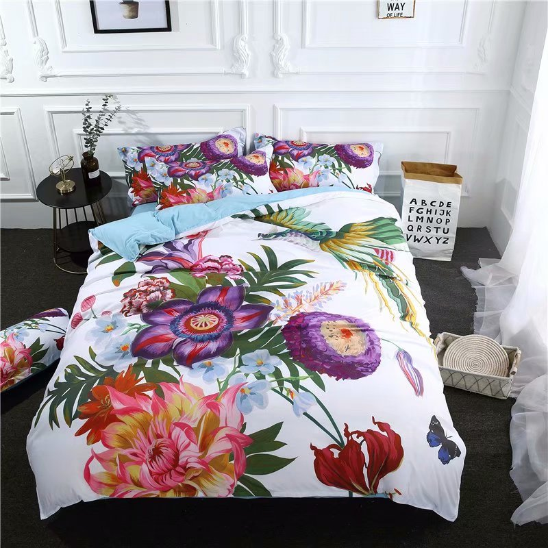 Home & Garden 2018 Colorful Flowers White Bedding Microfiber Polyester Bedlinens Twin Queen King Size 3/4pc Duvet Cover Set Pillowcases