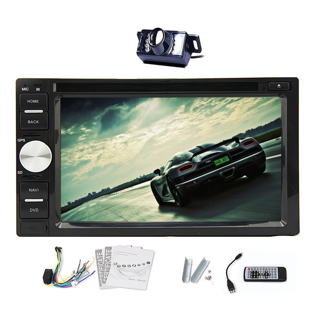 "In-dash Universal 2 din Digital Touch Screen Car DVD CD Player 6.2""  Car Stereo FM/AM RDS Radio Audio Player Bluetooth+Camera"