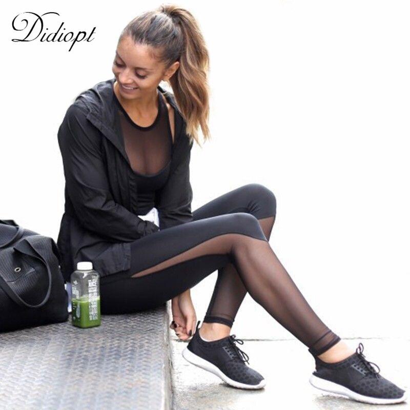 Didiopt Sport Pants Yoga Leggings Black Transparent Mesh Skinny Tight Women Fitness Leggings Sportbroek Mallas Running P0485