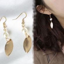 New fashion Europe and America simple wind retro gold leaf white imitation pearl earrings temperament female
