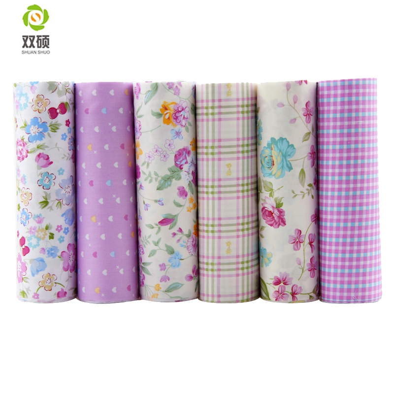 Purple Floral&Lattice Cotton Fabric Patchwork Needlework Textile Pattern Sewing Fabric For Doll Clothes Bags 40x50CM 6PCS/LOT