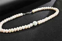 Koraba Natural White Freshwater Pearl Necklace with Burmese Jade Emerald Choker Jewelry