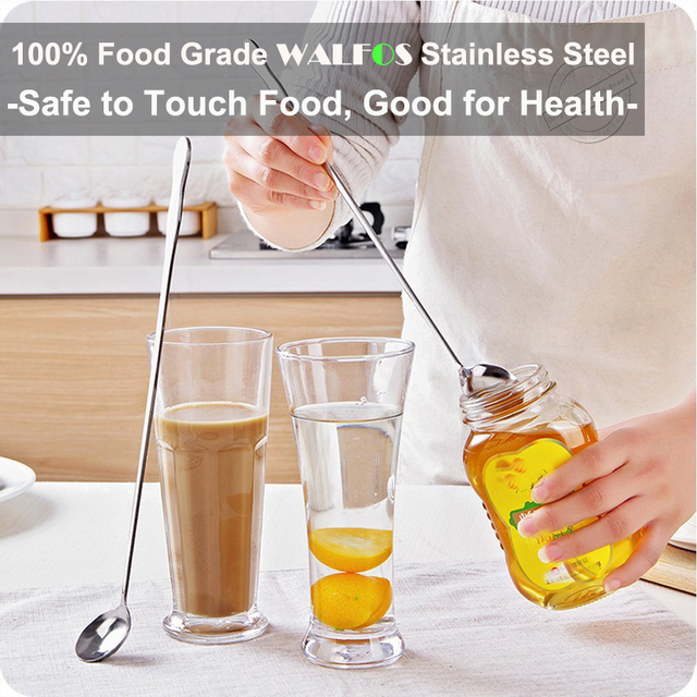 WALFOS Long Handled Stainless Steel Coffee, Ice Cream, Dessert & Tea Spoon 1