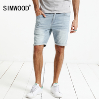 SIMWOOD 2017 New Summer Casual Shorts Men Cotton Striped Denim Knee Length Jeans Vintage Scratched Brand
