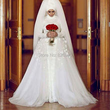 Sexy Mermaid Hijab Long Sleeve Muslim Lace Wedding Dresses Detachable Removable Skirt 2017 Turkish Islamic Wedding Gowns 2 in 1