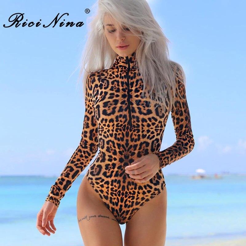 RICININA 2018 Leopard Bodysuit Women Sexy Elegant Long Sleeve Slim Bodycon   Jumpsuit   Romper Beach Ladies Bodysuit   Jumpsuit