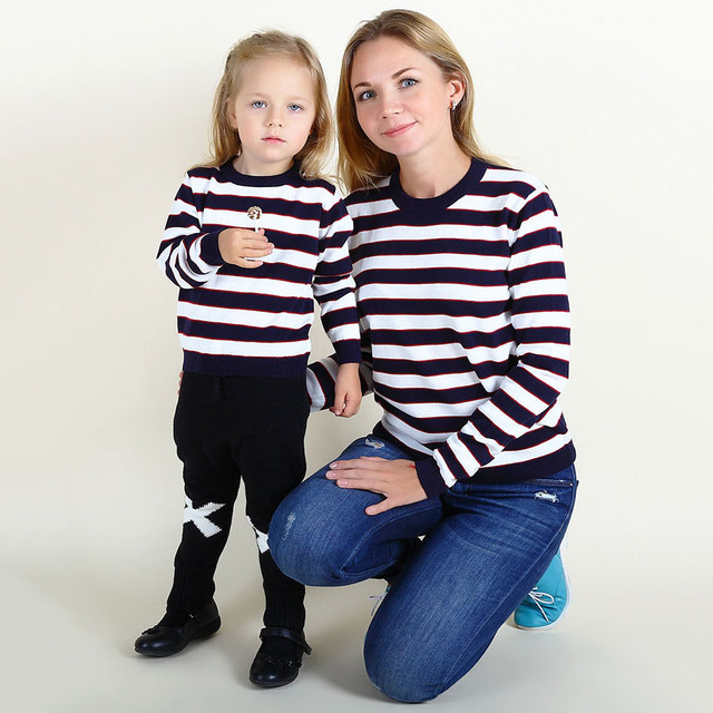 Mother Daughter Matching Clothes Typical Simple Bbw Long Sleeves Striped Pure Cotton Knitted Sweater Baby Girl