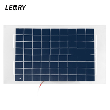 LEORY 10W 12V PolyCrystalline Solar Panel DIY Solar Cells Module Epoxy Resin With Block Diode 2 Alligator Clips 4m Cable