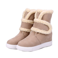 Winter Warm Women Snow Boots High Quality Solid Buckle Strap European Ladies Shoes Nubuck Leather Fashion