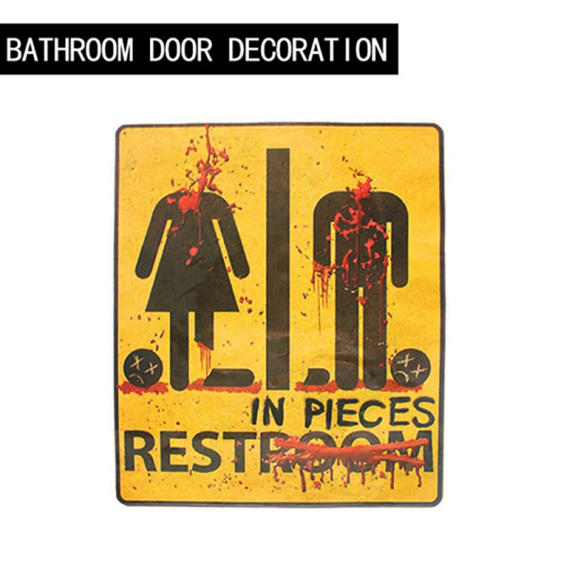 43*31cm Household Horror Bathroom Door Toilet Wall Stickers Halloween Decoration Props Festive Party Supplies