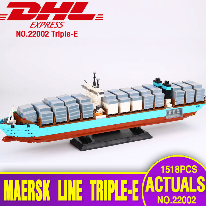 Lepin 22002 Technic Series The Maersk Cargo Container Ship Set Educational Building Blocks Bricks Model Toys Gift legoing 10241 lepin 22002 1518pcs the maersk cargo container ship set educational building blocks bricks model toys compatible legoed 10241