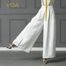 VOA Heavy Silk Jacquard White Wide Leg Pants Plus Size Loose Office Trouser Casual Pantskirt Women Slant Pocket Spring K301