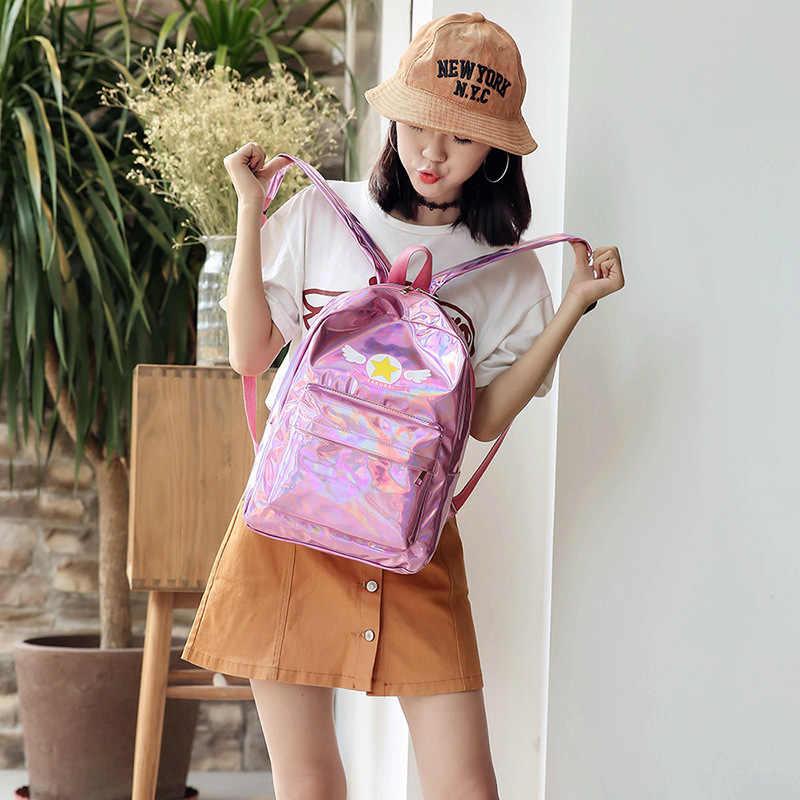 Лазерные рюкзаки Косплей карта аниме Captor Sakura женский рюкзак Лолита Kawaii голографическая дорожная сумка для подростка девушка школьный