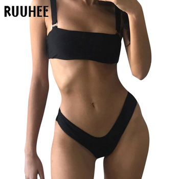 RUUHEE Solid Bikini Swimwear Women Swimsuit High Cut Brazilian Bikini Set Bathing Suit 2018 Beachwear Sexy Bandeau Swimming Suit 1