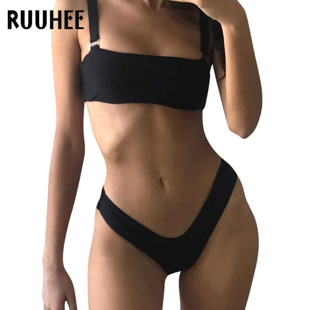 RUUHEE Solide Bikini Maillots De Bain Femmes Maillot de Bain High Cut Brésilien Bikini Set Maillot de bain 2018 Beachwear Sexy Bandeau Maillot De Bain