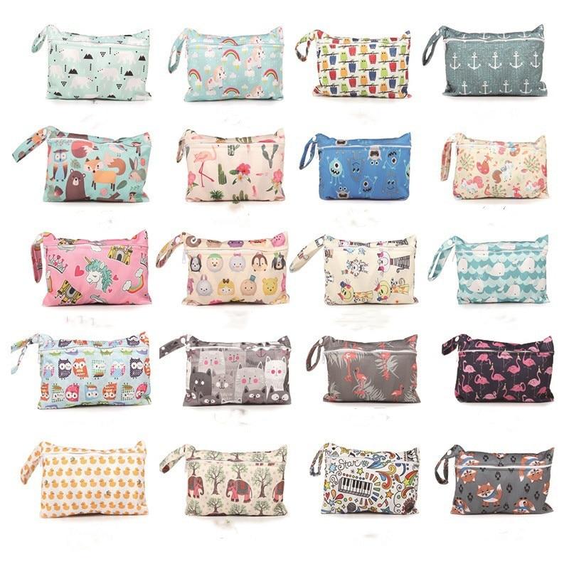 Waterproof Reusable Dry Wet Bag Cartoon Zipperl Diaper Bag Easy To Travel Stroller Diaper Bag For Baby Care Maternity Hangbag