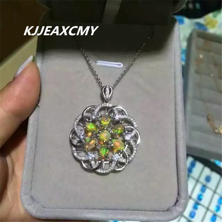 KJJEAXCMY boutique jewelry,Female natural opal pendant inlaid jewelry wholesale sterling silver S925 s925 sterling silver inlaid natural stone thai silver beautiful burning blue brooch female pendant new products