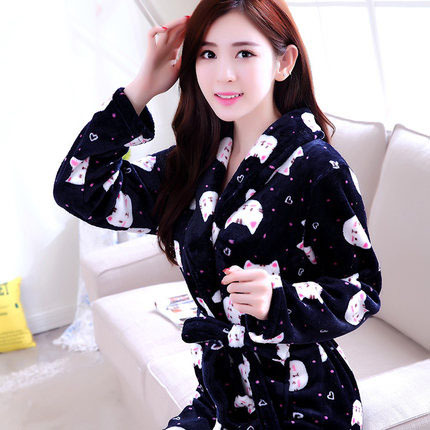 New Women Robe Bathrobes Sleepwear Female Autumn Flannel Lounge Thickening Coral Fleece Long-sleeve Nightgrown Nightdress