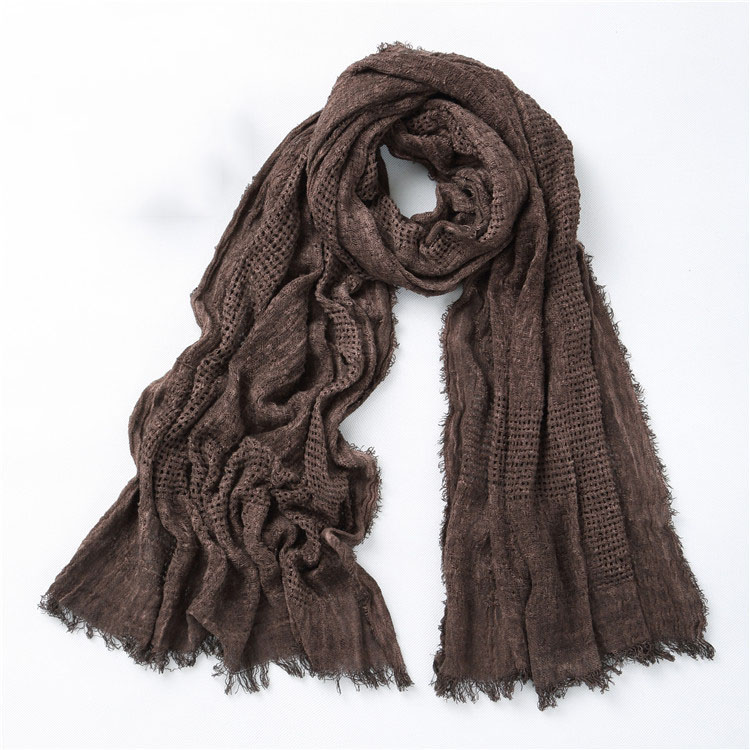 Winter Scarf Shawl Plaid Japanese Soft Fashion Cotton Long Men Solid Unisex-Style