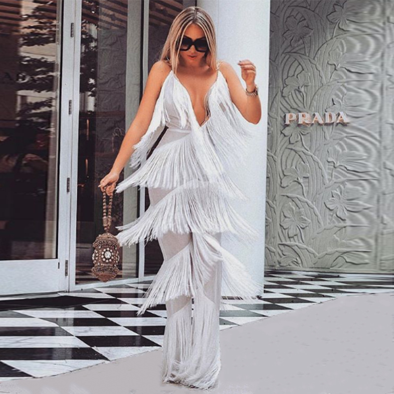 Tobinoone Autumn Tassel V Neck Sexy Jumpsuit Women white Elegant Long Jumpsuits Rompers Womens Backless Bodysuit Plus Size 1
