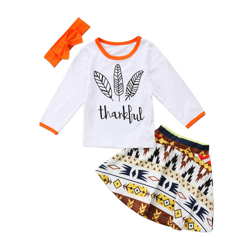 6M-3T Toddler Kids Baby Girls Clothes Thanksgiving Long Sleeve T-shirt Tops+Skirt +Headband 3pcs Outfits Baby Clothing Set