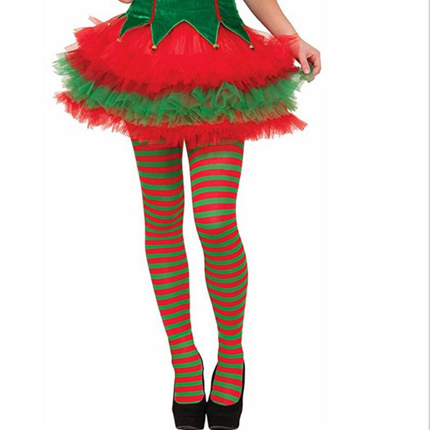 snowshine #5001  Elf Tights Striped Red Green Christmas Fancy Dress Costume Knee Stockings