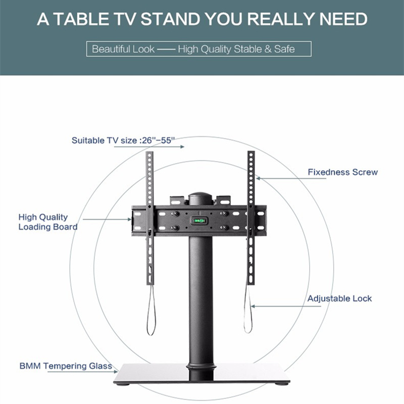 Universal TV Table Monitor Base Stand Stable and Safety TV Floor Stand for Plasma LED LCD TV 26 quot to 55 quot up to 110lbs in TV Mount from Consumer Electronics