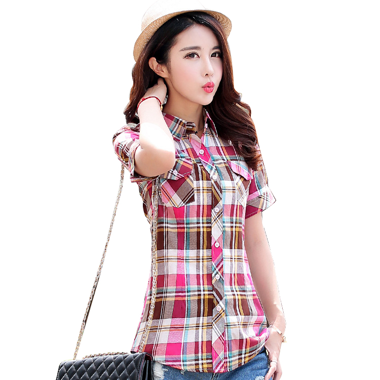 2016 summer new fashion plaid short sleeve shirt women summer blouse shirt casual cotton tops girl summer clothing shirt Платье