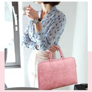 Image 2 - Fashion PU waterproof Scratch resistant Laptop Shoulder Bag 13 14 15.6 inch for MacBook Air Notebook Shoulder Carry Case