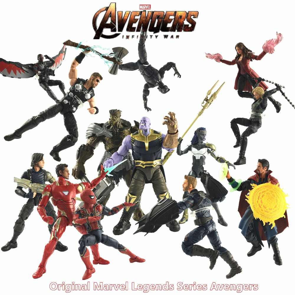 "Marvel Legends 2018 Movie Avengers 3 Infinity War 6"" Action Figure Thanos Captain America Iron Spider Men Thor Black Widow Toys"