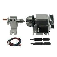 50mm 3 mandíbula mandril rotativo um 4th eixo tailstock para cnc roteador gravador fresadora 4 eixo kit|Mandril|Ferramenta -