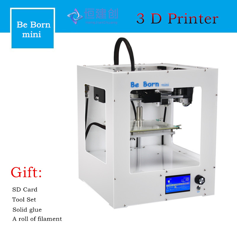 DHL Free Be Born Mini White Box Type 3D Printer With Free Filament Line/Off-line Print High Precision 3D Printer With LCD Screen hot sale wanhao d4s 3d printer dual extruder with multicolor material in high precision with lcd and free filaments sd card