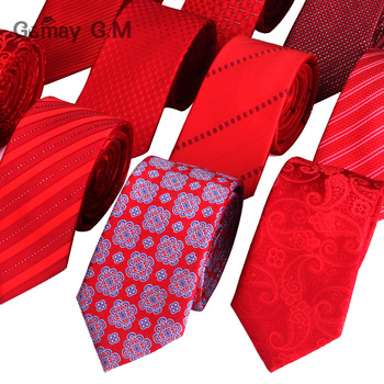 High Quality Ties for Men Fashion Jacquard Woven Classic Mans Necktie For Wedding 6cm Width Slim Groom Neck Tie Red Striped Tie цена 2017