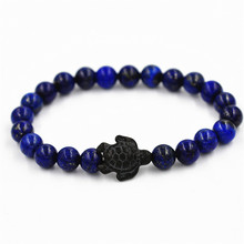 New Arrive Fashion Natural Lapis Lazuli Beads Stone Turtle Balance Energy Bracelet Elastical Jewelry For Men Women 8MM