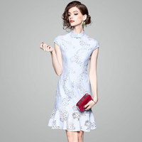 Mermaid Lace Dresses Evening Party Spring Summer Womens Elegant Short sleeve Stand collar Light Blue Improved Cheongsam Dresses