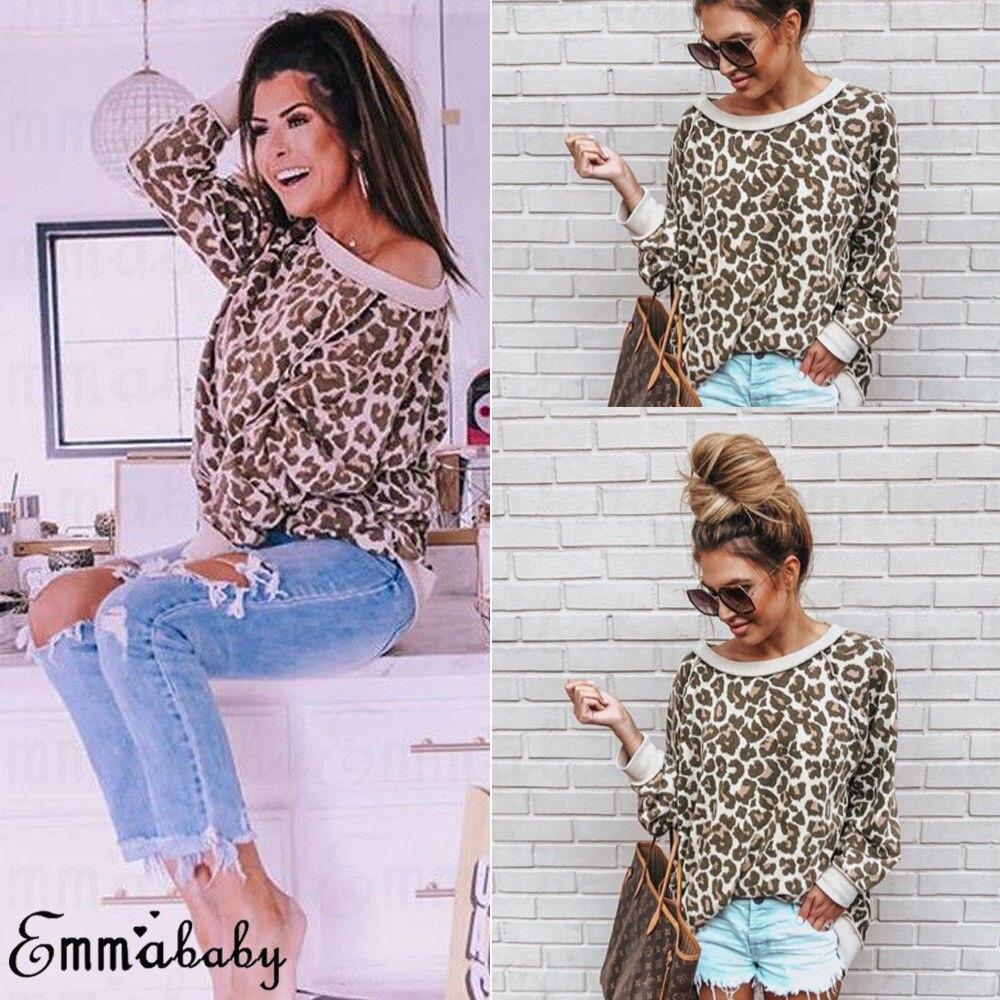 00e36e313349 Hirigin Off Shoulder Shirt Fall 2018 New Brand Women Leopard Print Long  Sleeve Blouse Ladies Casual Shirt Summer Loose Tops-in Blouses & Shirts  from Women's ...