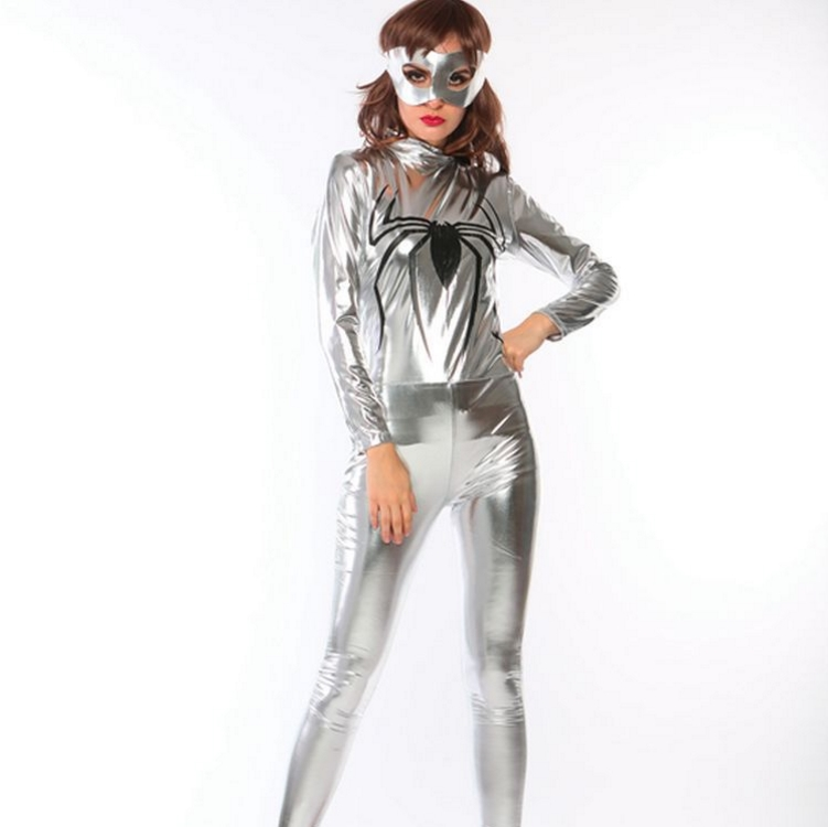 Silver Spider Swordswomen Superman Costume Halloween leather suit Siamese pants Club DS stage costume silver tigh suit