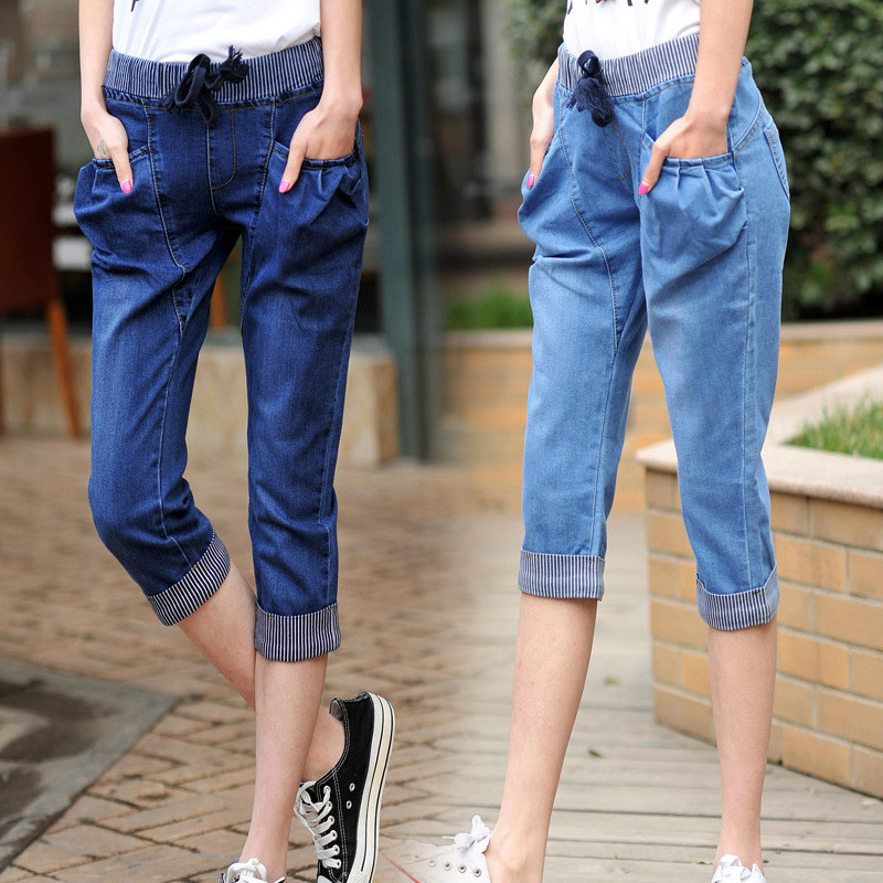 Summer Large Size Stretch   Jeans   Woman Capris Pockets Lace Up Vintage Denim Ladies   Jeans   Casual Harem Pants Trousers Women C4523