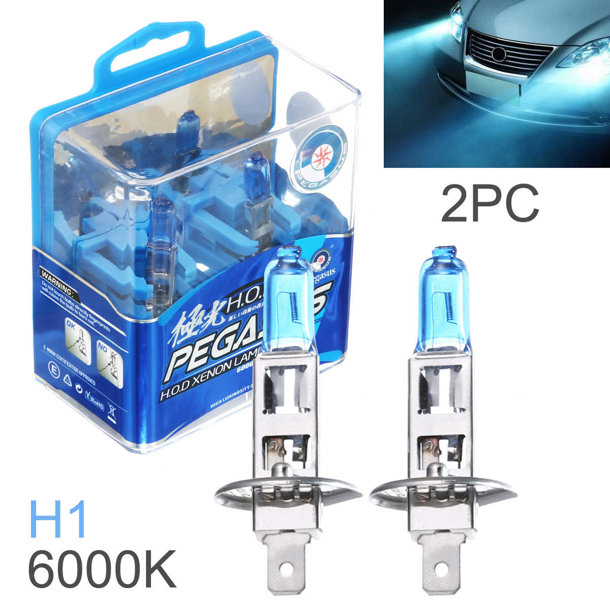 2Pcs H1 White Light Car HOD Xenon Halogen Lamp 100W Super Bright Auto Front Headlight Fog Bulb Lights