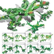 Dinosaur Blocks Toys Jurassic World Lifelike Hydreigon Building Blocks Godzilla Action Figure Safty Baby Toys for Kids стоимость