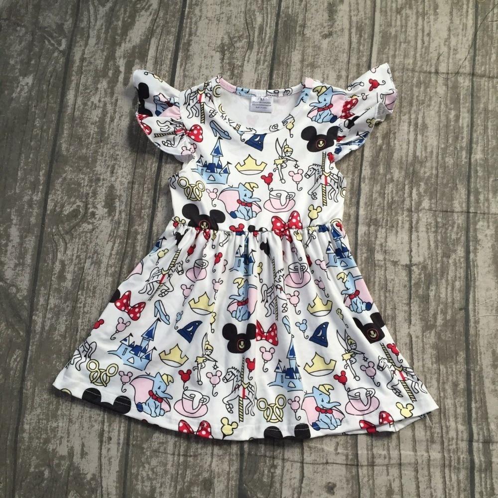 2018 летнее платье для маленьких девочек короткие рукава с принтом мышки шелк молока животных лук Слон одежда бутик мультфильм детская одежд...