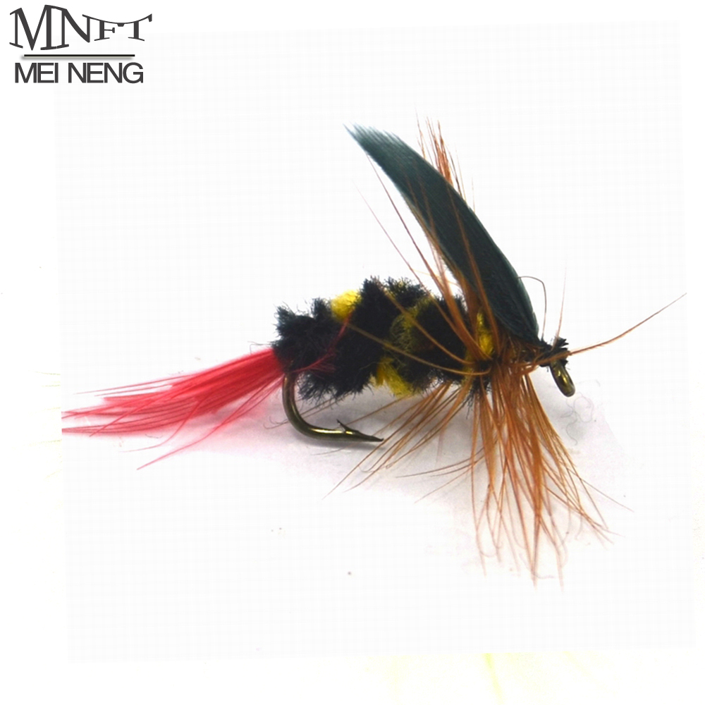 Mnft 10pcs 10 yellow and black black red tail bee fly for Fly fishing bait