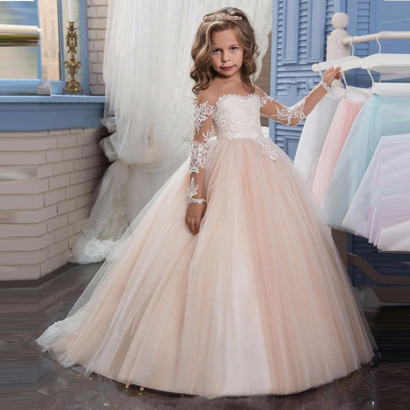 Princess dress 2018 Champagne Lace Flower Girl Dress Weddings Long Sleeves Ball Gown Kids First Communion Dresses Pageant Gown pink lace up design cold shoulder long sleeves hoodie dress