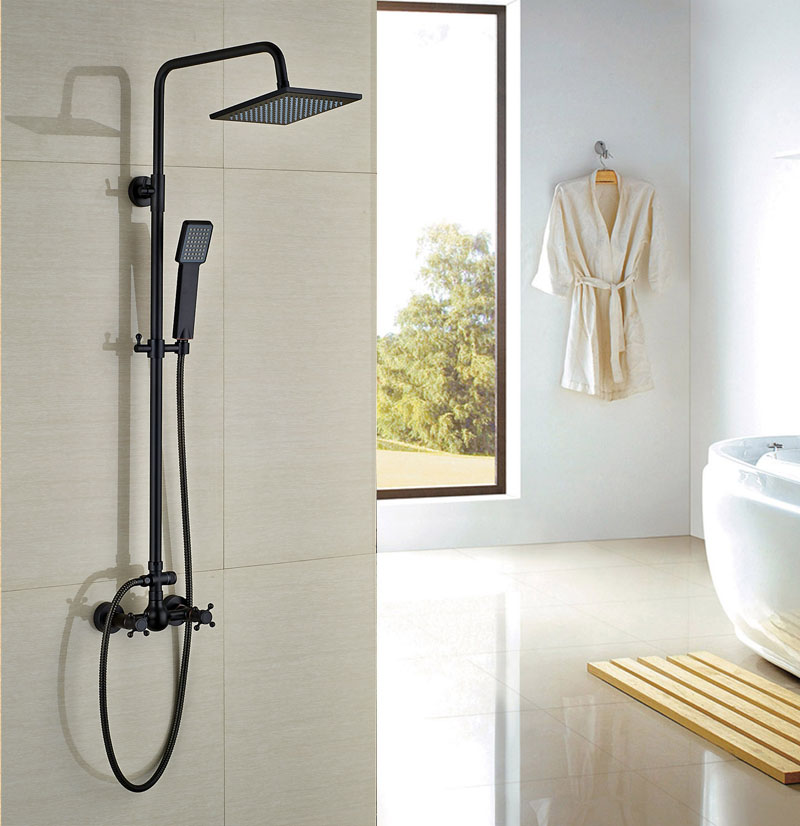 Oil Rubbed Bronze Shower Faucet Wall Mounted Bathroom 8-in Rainfall Shower Set Double Levers