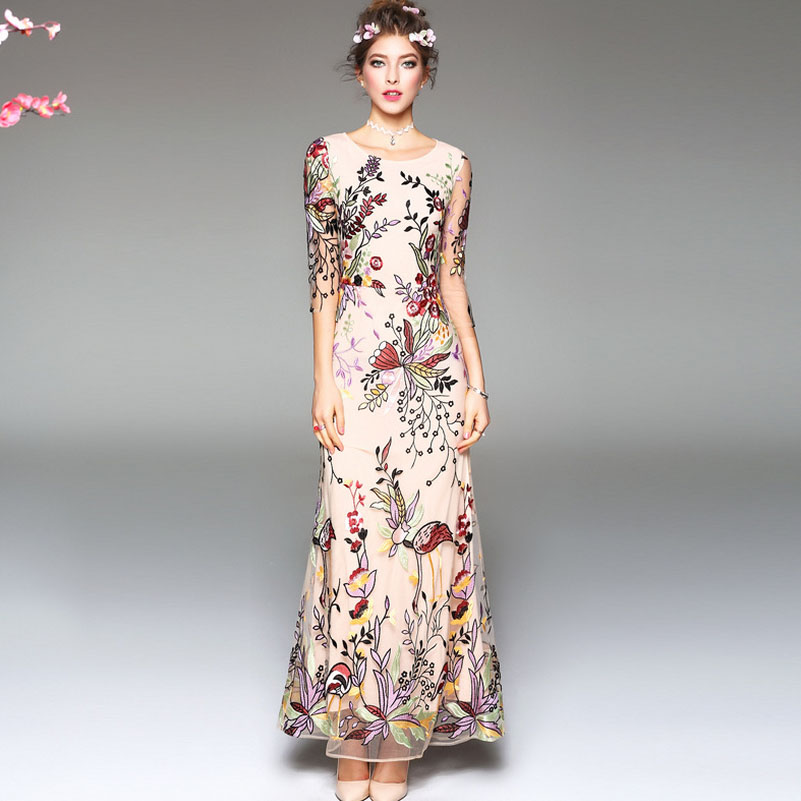 Luxury New Arrival 2018 Spring Summer Womens O Neck 3/4 Sleeves Embroidery Elegant Long Runway Dresses