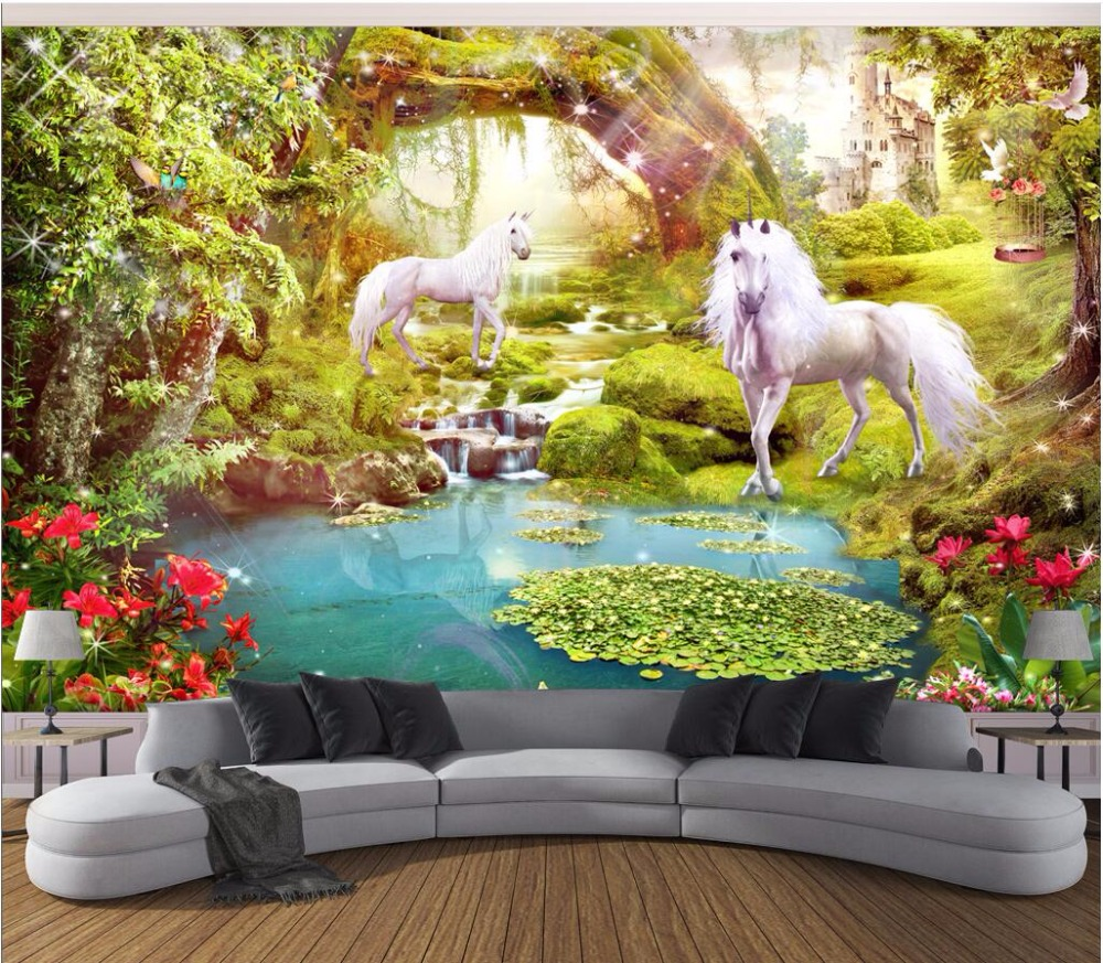 Custom mural photo 3d wallpaper forest white horse unicorn for Decorative mural painting
