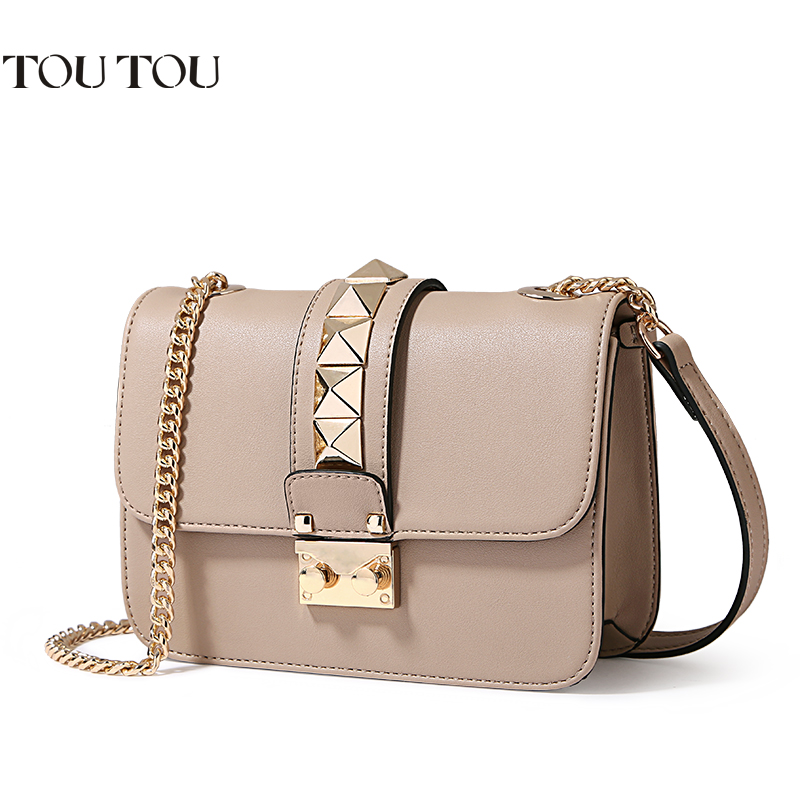 TT076 Women Messenger Bag Luxury chain Handbags Women Bag Designer Rivet Female Shoulder Bags Famous Brand Crossbody Bags Women tcttt luxury handbags women bags designer fashion women s leather shoulder bag high quality rivet brand crossbody messenger bag
