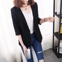 Plus size 5XL women elegant blazer spring summer cotton linen black white notched pockets office lady casual outerwear suit